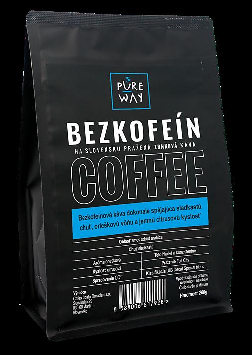 Zrnková bezkofeínová káva Pure Way 200g