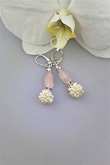 Náušnice - perly a ruženín náušnice - 10114516_