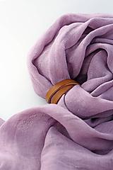 Šatky - Elegantná hrejivá fialová šatka zo 100% ľanu - 10114843_