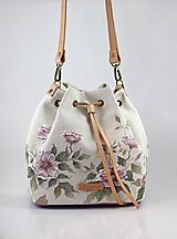 """Kabelky - Ručne maľovaná veľká kabelka z ľanu """"Linenrose"""" - 10117579_"""