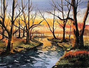 Obrazy - Maľovaný obraz - Hmlisté jesenné ráno - 10116767_