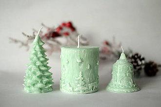 Svietidlá a sviečky - Sada vianočných sviec * s vôňou * (Zelená) - 10116839_