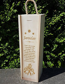 Dekorácie - Drevená škatuľa na víno Vianočná - 10114351_