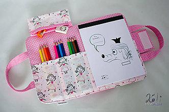 Detské tašky - Detský kufrík - pastelkovník Princezničky (Ružová) - 10118793_