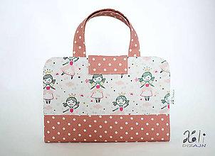 Detské tašky - Detský kufrík - pastelkovník Princezničky (Staroružová) - 10118794_