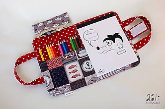 Detské tašky - Detský kufrík - pastelkovník Na mori (červená) - 10118831_