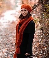 Čiapky - Terakotový dlhý šál a baretka - 10114245_