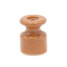 Iný materiál - Porcelánový izolátor na vedenie kábla po stene, priemer 20mm, svetlo hnedá farba - 10115715_