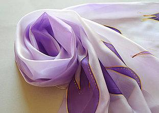 Šály - fialové tulipány - 10117650_