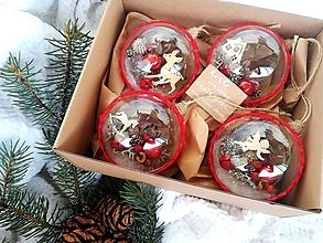 Dekorácie - Vianočné gule 4 ks sada červená - 10119508_