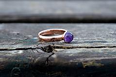 Ametyst pozlátený prsteň Ag 925