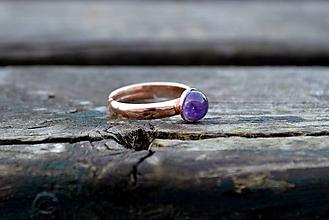 Prstene - Ametyst pozlátený prsteň Ag 925 - 10115659_