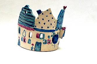 Svietidlá a sviečky - svietnik dom modrý - 10116583_