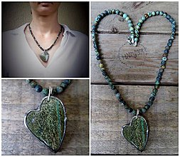 Náhrdelníky - Srdce z rodochrozitu na africkom tyrkyse - 10118980_