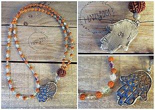 Náhrdelníky - Japa mala náhrdelník s keramickou hamsou - 10119366_