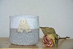 Dekorácie - háčkovaný košíček-šedý - 10116208_