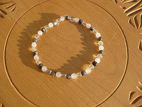 Náramky - náramok Krištáľ, Labradorit,Ruženín - 10114381_