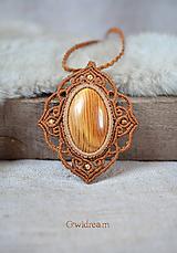 Náhrdelníky - Pletený drevený náhrdelník •Polárna líška• - 10117809_
