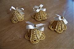 Dekorácie - Zvončeky háčkované zlaté - 10114756_