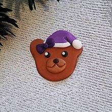 Magnetky - Vianočný medvedík - FIMO magnetka (čučoriedkový) - 10114292_