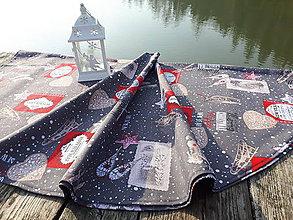 Úžitkový textil - Okruhly obrus  (Vianočný Happy New Year) - 10120994_