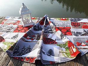 Úžitkový textil - Okruhly obrus  (Vianočná dedinka) - 10121033_