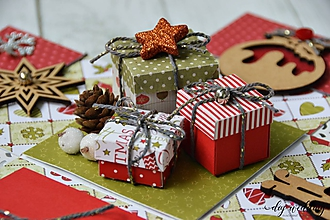Papiernictvo - Vianočná darčeková krabička Darčeky - 10121391_