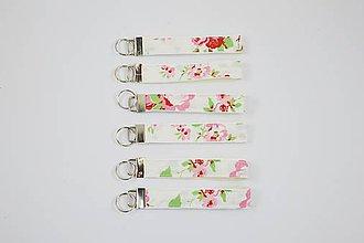 Kľúčenky - Kľúčenka ružové ružičky - 10120517_