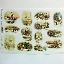 Papier - Ryžový papier na decoupage -A4-R997-Vianoce, mlyn,strom - 10120206_
