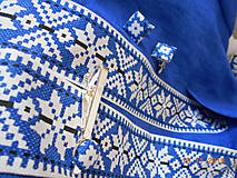 """Doplnky - Folk motýlik """" Blue & white"""" - krížikový, ako vyšívaný - 10122572_"""