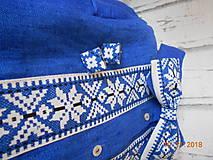 """Doplnky - Folk motýlik """" Blue & white"""" - krížikový, ako vyšívaný - 10122573_"""