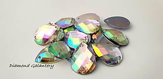 Galantéria - Ozdobné kamienky našívacie 18x25 - Crystal AB - 10123645_