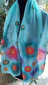 Šatky - hodvábny šál s krúžkami - 10121920_