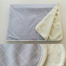 Úžitkový textil - Deka/ prikrývka 100% Merino TOP a 100% bavlna LUX KARO SAND 140 x 210 cm - 10123859_