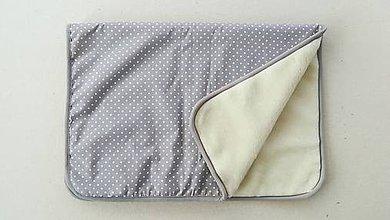 Úžitkový textil - Deka/ prikrývka 100% Merino TOP a 100% bavlna BODKA šedá 140 x 210 cm - 10123954_