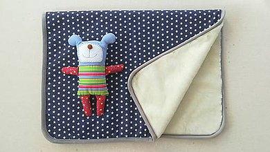 Úžitkový textil - Deka/ prikrývka 100% Merino TOP a 100% bavlna Hviezda modrá 140 x 210 cm - 10124104_
