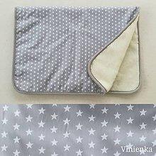Úžitkový textil - Deka/ prikrývka 100% Merino TOP a 100% bavlna Hviezda šedá 140 x 210 cm - 10124290_