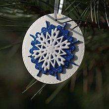 Dekorácie - Snehová vločka Modro biela - 10120268_