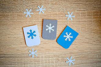 Papiernictvo - Magnetické záložky s vločkou - biela/modrá (sada) - 10121379_