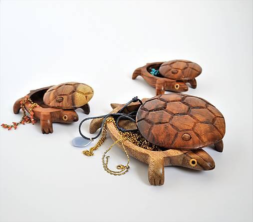Drevená šperkovnica – korytnačka
