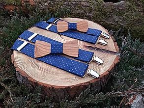 Doplnky - Set otec a syn - drevené motýliky a traky - 10121841_