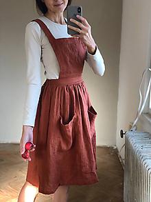 Sukne - Dámska ľanová sukňa na traky - 10123619_