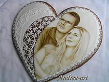 Dekorácie - medovníkové srdce s portrétom - 10123065_