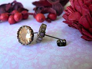 Náušnice - Puzety hnedo-ružová 10 mm - 10122956_