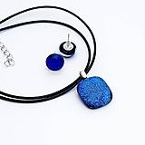 Sady šperkov - Tmavomodrá sada sklenených šperkov - 10123993_