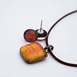 Sady šperkov - Oranžovo-červená sada sklenených šperkov - 10124064_