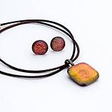 Sady šperkov - Oranžovo-červená sada sklenených šperkov - 10124065_