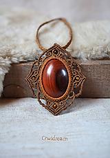 Náhrdelníky - Pletený drevený náhrdelník •Hrdzavá líška• - 10123175_