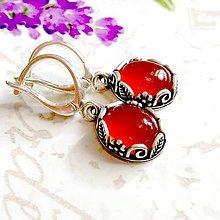 4dee1f5837b8 Náušnice - Vintage Floral Red Agate Earrings   Vintage náušnice s prírodným  motívom s červeným achátom