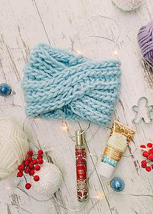 Ozdoby do vlasov - Luxury čelenka-100% vlna,modrá - 10125351_